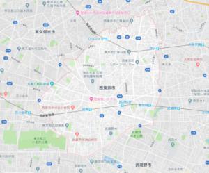 西東京市の地図画像